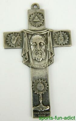 Rare Antique French Crucifix Pendant Cross Pectoral Holy Shroud Silver Poncet