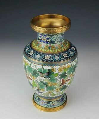 """10 1/2"""" Chinese Export Cloisonne Enamel Floral Butterfly Brass Mounted Vase JEF"""