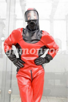 Latex 100% Rubber Gummi Anzug Suit Catsuit Ganzanzug Red and Black Size S-XXL