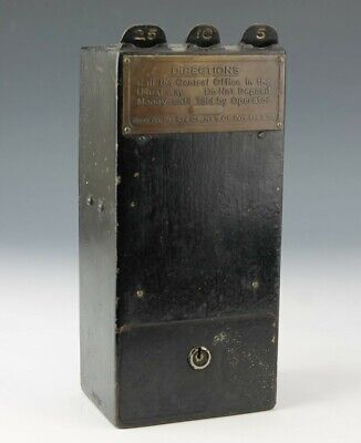 Antique Gray Tel-Pay Station Cast Iron Pay Phone Telephone Coin Receiver Box RLC
