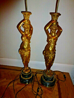 Fine Pair French or American  Marble and Bronze Table Lamps 19th c. GILT Woman