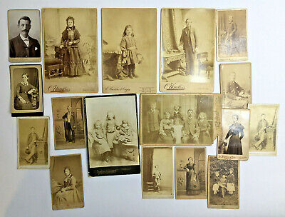 Collection of 17 CDV 's Antique Victorian Portraits Real Photographs