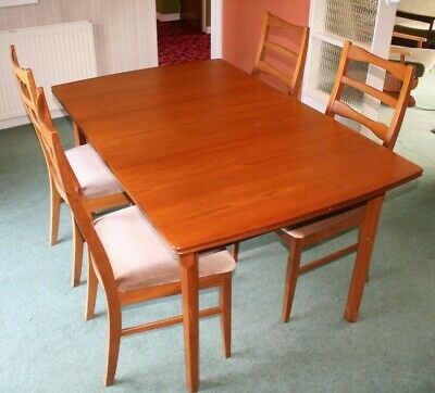 Quality ~William Lawrence ~Teak Extending Table + 4 Dining Chairs ~VGC