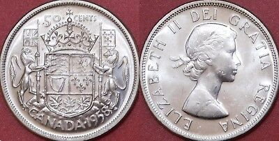 Brilliant Uncirculated 1958 Canada Silver 50 Cents From Mint's Roll