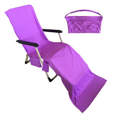 Sun Lounger Mate Beach Towel Carry With Pocket Bag For Holiday Garden Lounge LOC
