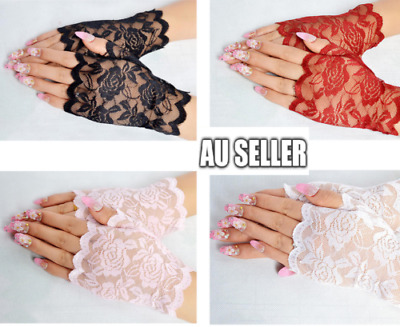 Black White Red Lace Fingerless Short Gloves 80s Madonna Costume Burlesque HOT