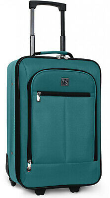 Carry On Luggage Suitcase 18 In Small Cabin Bag Lightweight Rolling Baggage Teal