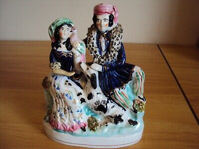 Antique 19th Century Staffordshire Flatback Portrait Couple With Dog And Bird