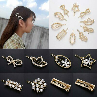 Fashion Women Girls Crystal Pearl Hairpin Hair Clip Barrette Hair Accessories