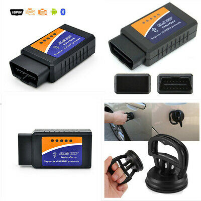 ELM327 Bluetooth Interface OBDII OBD2 Diagnostic Car Scanner Scan +Saug Cup