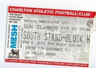 1998-99 Manchester United Away Game at Charlton Athletic ticket, TREBLE SEASON