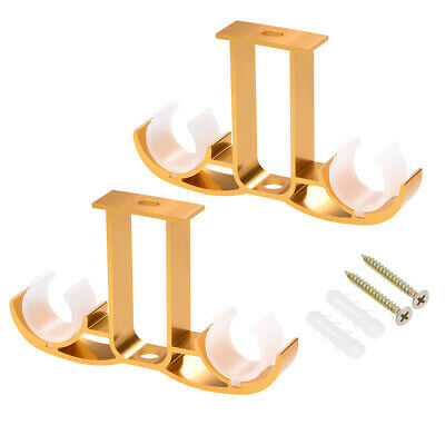 Curtain Rod Bracket Double Thicken for 24mm Rod, 140 x 80 x 19mm Golden 2 Pcs