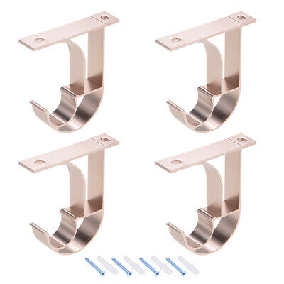 Curtain Rod Bracket Single for 24mm Drapery Rod 80 x 75 x 18mm Rose Golden 4 Pcs