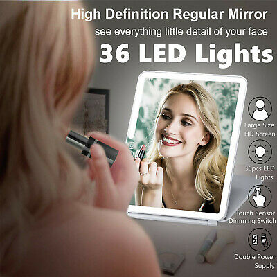 36 LED Touch Screen Makeup Mirror Illuminated Cosmetic USB Charge Travel 25x20cm
