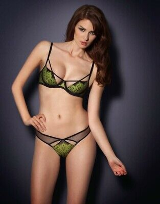 AGENT PROVOCATEUR ELECTRA BRA GREEN BLACK SIZE 36A  RRP £110 BNWT
