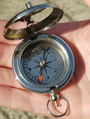 Vintage Nautical Style Nickel Plated Brass Sundial Push Button  Pocket Compass
