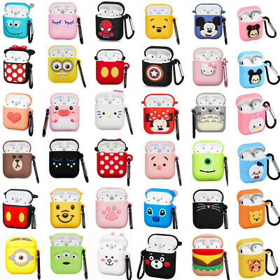 Cute 3D Cartoon Silicone Cover Case For Airpods Charging Case Carabiner Keychain