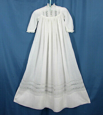 """Antique long baby dress - cotton voile with delicate lace - 34"""" long - Victorian"""