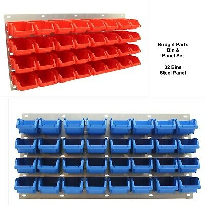 Budget 32 Bin & Metal Louvre Panel Parts Storage Set A - Red or Blue - NEW