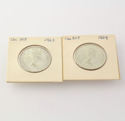 Set of 2 Canadian 50 Cent Coins 1963 - 1964 Sealed Canada Half Dollars