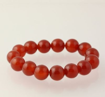 New Chunky Beaded Bracelet - Red Agate Stone Beads Stretch Band Women's