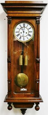Antique Large German 8 Day Twin Weight Carved Walnut Vienna Regulator Wall Clock