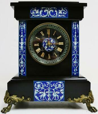 Antique French 8 Day Bell Striking Slate/Marble & Ornate Porcelain Mantle Clock