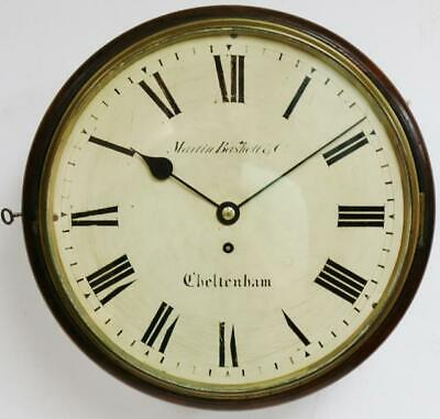 "Quality Antique English 14"" Mahogany Thin Bezel Fusee Station Dial Wall Clock"