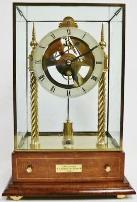 Rare Vintage English Electro Mechanical Electric Skeleton Clock Under Glass Case