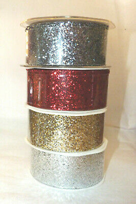 1M Glitter Sparkle Ribbon # 38Mm Wide - Red/Gold/Silver/Pewter #Crafts/Hair Bow