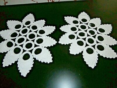 PAIR of VINTAGE WHITE  COTTON HAND WORKED CROCHET LACE MATS/DOILIES