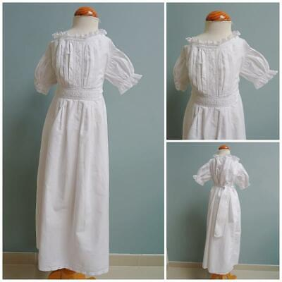 Antique Babys Nightgown Gown Victorian Embroidered Whitework Lace Trim c1890