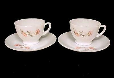 2 Fire King Fleurette Cup Saucer Vintage Milk Glass White Red Two Anchor Hocking