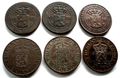 NETHERLANDS EAST INDIES 6 x 2-1/2 CENTS 1857,1858,1896,1914,1920,1945 B1