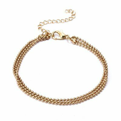 Women Stainless Steel Charm Cuff Bracelet Bead Bangle Gold Chain Jewelry Gift