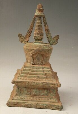 Unique Chinese Old Bronze Hand Casting Buddhist Tower Spiritual Gift Collection