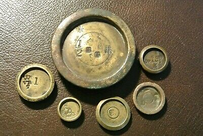Antique/vintage scale weighing weights x 6 different # 3  (PM)
