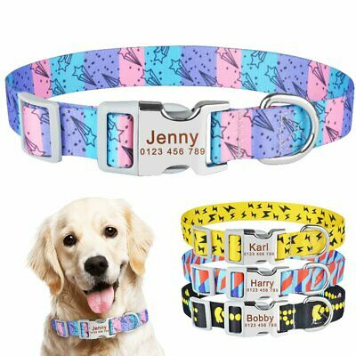 Personalised Dog Collar Custom Engraved Name ID Tag for Small Medium Large Dogs