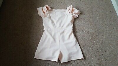 River Island Off The Shoulder Bow Playsuit - Peach - Age11-12 Yrs