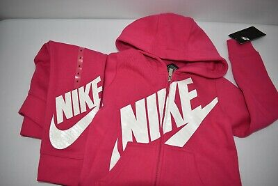 Nike Girls Zip Hoodie & Sweat Pants 2 Pcs Sets Sz 4 New With Tag