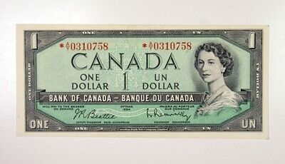 Bank of Canada 1 Dollar 1954 Star Replacement QEII Choice VF