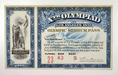 Los Angeles California Xth Olympiad 1932 Olympic Stadium Pass JBNC XF-AU