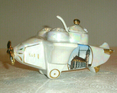 Vintage Porcelain Souvenir Condiment Set Airplane Lutherstadt Wittenberg Germany
