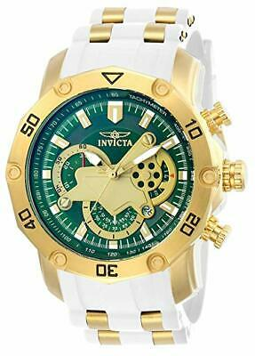 Invicta Mens 48mm Pro Diver Scuba Gold-Tone Green Dial Quartz Chrono Strap Watch