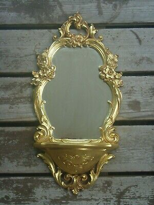 Vintage 1970 Dart Syroco Hollywood Regency Gold Wall Mirror with Shelf #2327