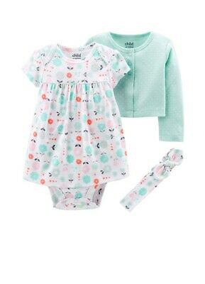 Child Of Mine By Carters Baby Girl Nb 3pc Layette Dress Set
