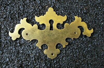 """CHIPPENDALE STYLE BRASS FURNITURE ESCUTCHEON KEYHOLE COVER LARGE SIZE 5"""" x 3 1/4"""
