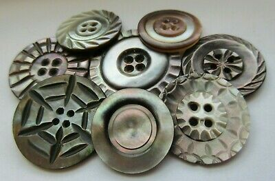 Gorgeous Lot of 8 Antique~ Vtg Carved MOP Shell BUTTONS LARGE & Medium (AB)