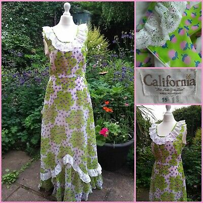 VINTAGE 70s MAXI DRESS by CALIFORNIA lace ruffle pop flower daisy 60s floral