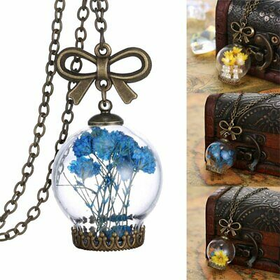 Natural Real Dried Flower Necklace Vintage Bronze Bow Glass Pendant Jewelry Gift